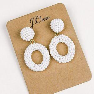 Jcrew white bead statement earrings